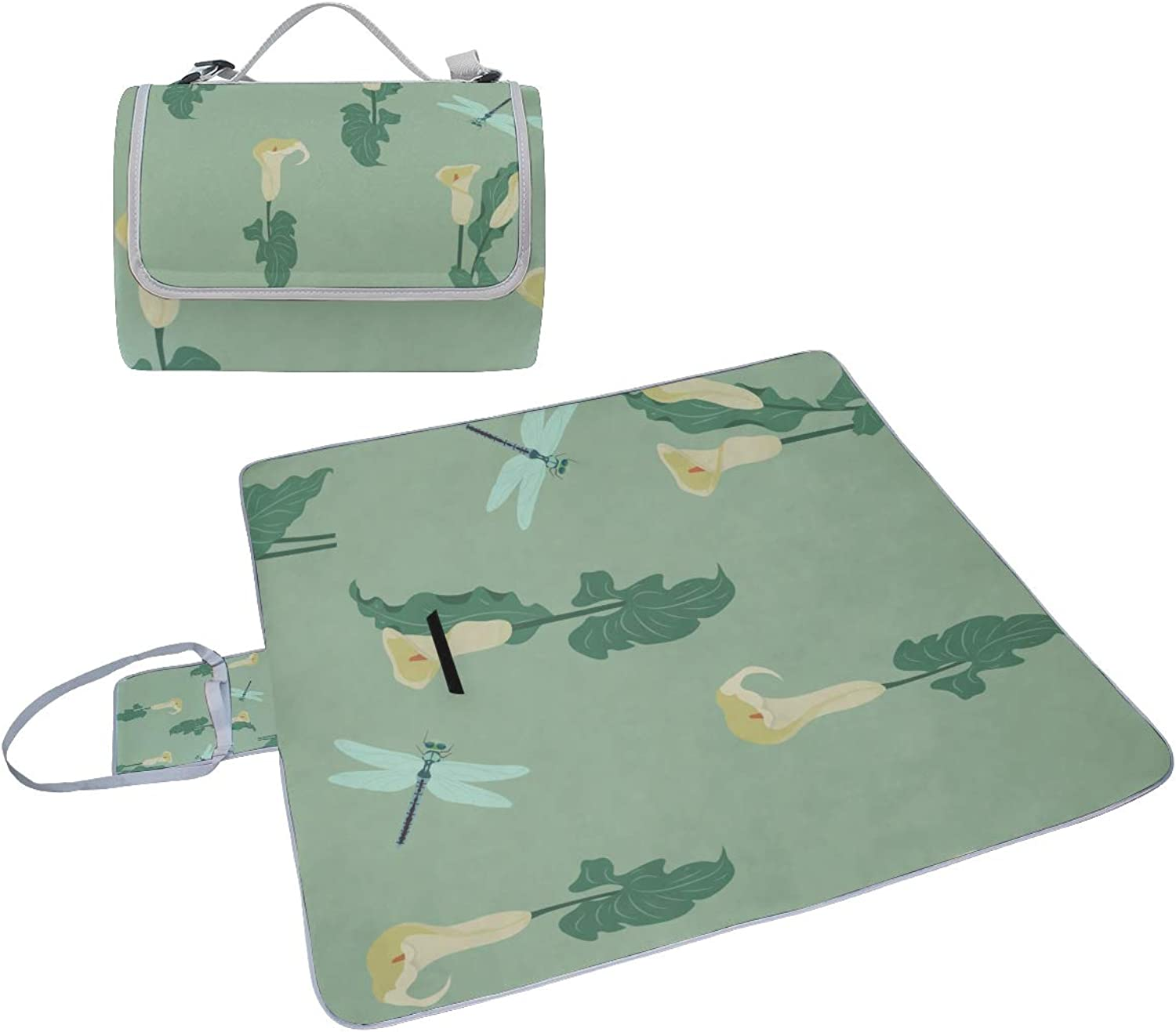 Family Picnic Blanket Handy Tote Calla Yellow Floral Hand Drawn Romatic Single Side Printing Foldable Sandproof Waterproof Camping Mat for Outdoor Beach Hiking Grass Travel Outings