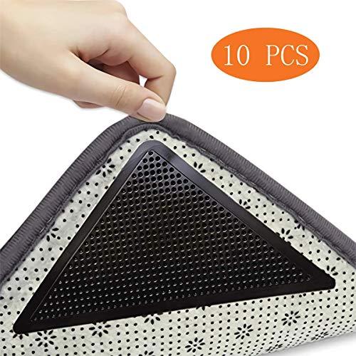 Teppich-Greifer, rutschfest, waschbar und wiederverwendbar, kein Verrutschen, umweltfreundlich, für Fliesenböden, Teppiche, Bodenmatten, schwarz (10 Stück) 10 PCS schwarz