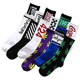 12 Pairs Men'sTrendy Socks,Weed Leaf Printed Cotton Socks Maple Leaf Printed Socks Middle Tube Personality Sports Basketball Socks