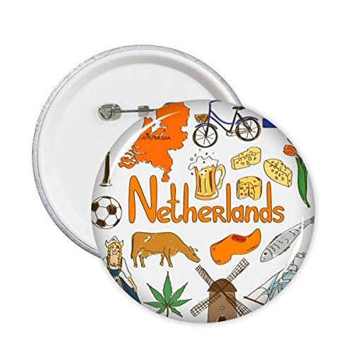 DIYthinker Nederland Landschap Douane Landmark Dieren Nationale Vlag Resident Dieet Illustratie Patroon Ronde Pin Badge Knop 5 Stks M