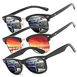 Perfectmiaoxuan Pack de 3 Gafas de Sol Hombre Mujer Polarizadas CAT 3 CE UV400 Gafas retro clásicas Conducción Correr Ciclismo Pesca Golf Verano Turismo Gafas de sol (3 pack(black/Red/black))