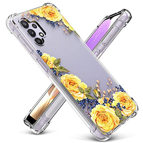 PULEN Clear Floral Case Compatible with Samsung Galaxy A32 5G,Classic Soft & Flexible TPU Cute Floral Shockproof Protective Cover Flower Pattern Phone Case for Women Girls (Rose/Yellow)