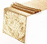 Eternal Beauty Sequin Table Runners Gold 12 x 108 Inch Glitter Gold Table Runner-Gold Sequin Tablerunner for Wedding Party