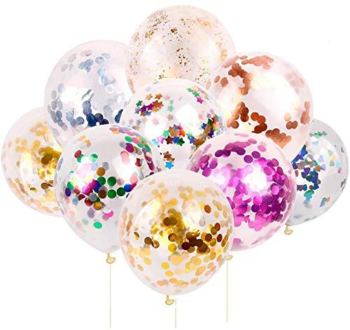 Lezed Globos de Confeti de Colores Globos de Lentejuelas de Colores Globos de Látex Cumpleaños Navidad Boda Aniversario Fiesta de Graduación Decoración de Diseño,10 Piezas 12 Pulgadas 5 Colores