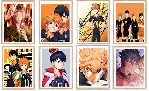 Manga Anime - Póster surtido de lona para decoración de dormitorio, 20,3 x 25,2 cm, sin marco, 8 piezas
