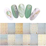 Kaloalry 100+Muster Nagel Sticker, Gold Silber 3D Laser Metallic Nagel Aufkleber Fingernägel Glitters Nagelsticker für Kinder Mädchen Frauen DIY Anfänger Nagelstudio