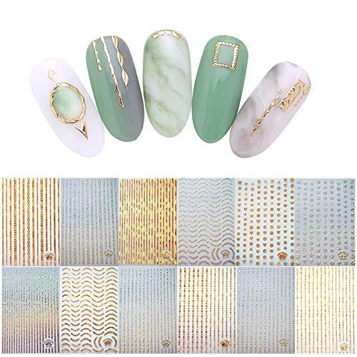 100+ Patronen Goud Zilver 3D Laser Metallic Nagelstickers, Kalolary Noble Metallic Kettingen Lijn Golf Punt Sterren Nagel Stickers Curve Streeplijnen Zelfklevende Striping Tape Nagelontwerp