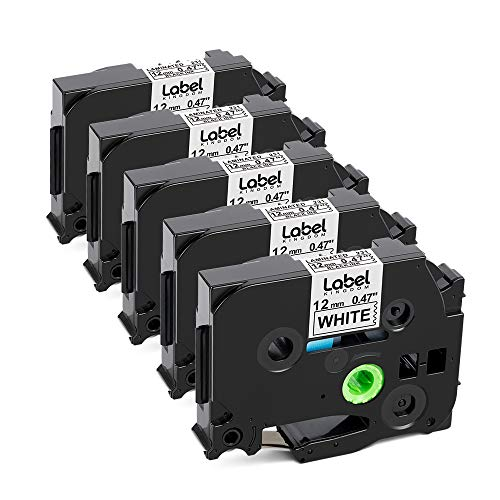 Label KINGDOM Compatible Labels Replacement for Brother P Touch Label Maker Tape (TZe-231 TZ-231) TZe Label Tape 12mm 0.47 Inch Laminated Black on White for PT-D210 PT-H110 PT-1880 PT-D400, 5-Pack