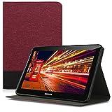 kwmobile Funda Compatible con Samsung Galaxy Tab 2 10.1 P5100/P5110 -Carcasa de Tela para Tablet con Soporte en Rojo Oscuro/Negro