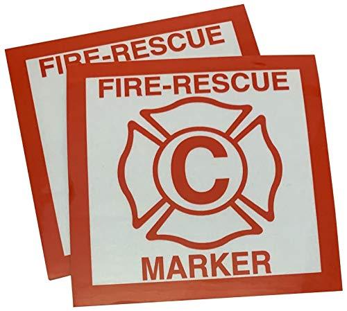 2 Pack Child Fire Rescue Marker Window Decals Alert Fireman of Children