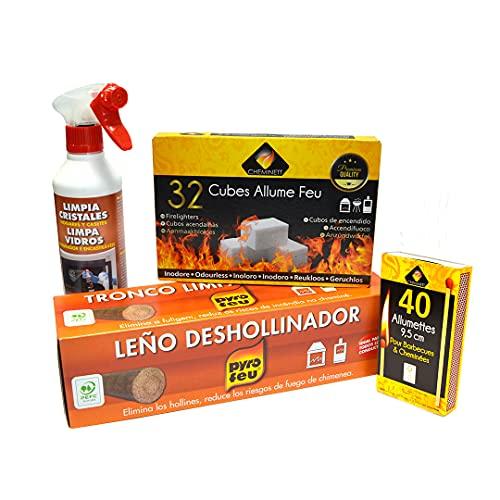 Pyro Feu 861925 Kit de Mantenimiento Y Limpieza Anual de Chimeneas, 11 X 18 X 34 Cm, Blanco / Marrón
