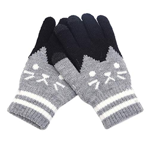 Allywit Women Winter Touch Screen Gloves Cat Warm Knit Texting Gloves Touchscreen Mittens for Women Girl Best Gifts (Grey)