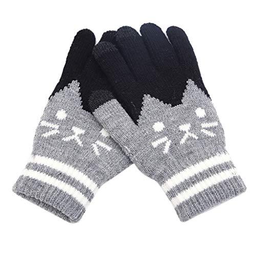 FRAUIT - Guantes de punto para pantalla táctil, para mujer, gato, gruesos, guantes de punto, cálidos, guantes de invierno, guantes de forro polar gris Talla única