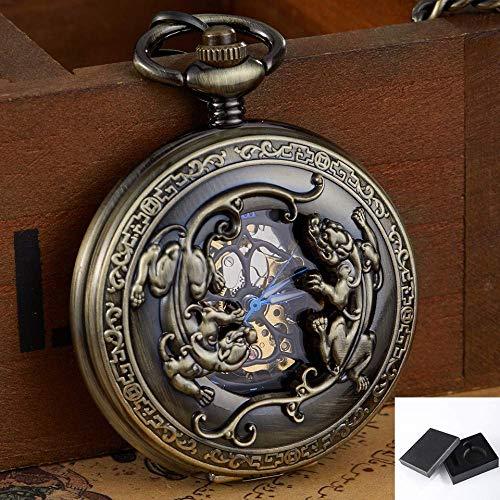 Reloj de Bolsillo Reloj de Bolsillo mecánico de Bronce Retro Cuerda a Mano Tallada Doble Tropas Valientes Relojes de Bolsillo Grabados con Suerte Reloj de Cadena con Llavero