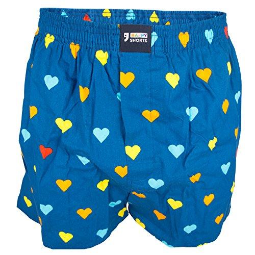 Happy Shorts Herren Boxershorts 205 blau/Herzen S