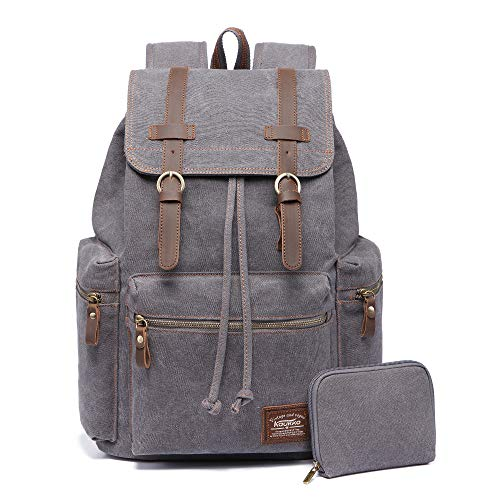 KAUKKO Vintage Casual Canvas and Leather Rucksack Backpack (Canvas...