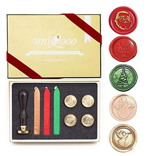 UNIQOOO Arts & Crafts 5 Stamps Christmas Wax Seal Stamp Kit- Merry Christmas, Santa Claus, Xmas Tree,Snowman, Angel, 3 Wick Wax Sticks Gift Box Set- Great for Holiday Decorations, Gift Ideas to Friend