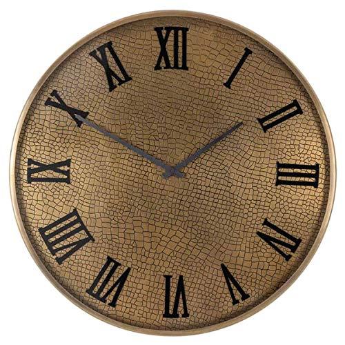 Richmond Interiors - Wanduhr, Uhr - Bradon - Metall, Glas - Maße (ØxT): 60 x 5 cm - Gold - Schlangenhautoptik