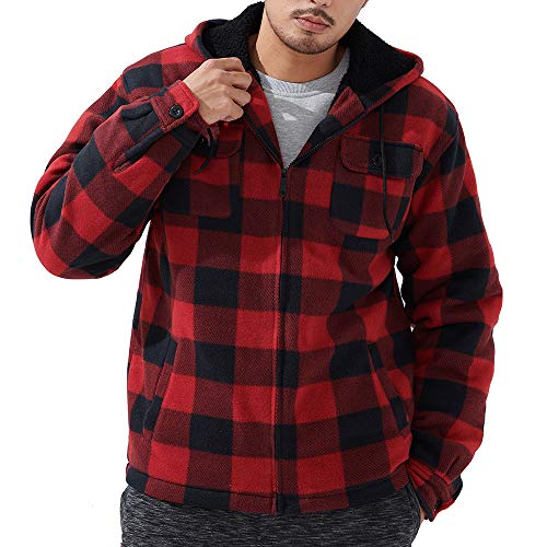 Flannel Shirt for Men Zip Up Fleece Warm Plaid Sherpa Lined Hoodie Jacket Big and Tall Winter Coats Red Medium