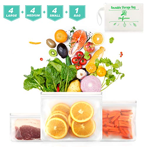 Find Bargain Reusable Sandwich Bags 12 Pack – Also Used for Food Storage Bags, Snack Bags – BPA Free, Leakproof, PEVA Food Grade Reusable Ziplock Bags, Safe for Kids & Freezer