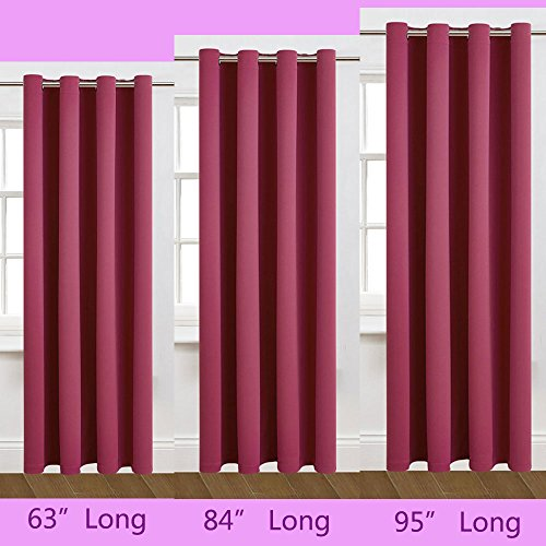 63 inch Long Sweet Girl Rose Pink Windows Curtains 1 Panel Drapes, Thermal Insulated Solid Grommets Best Blackout Curtains for Bedroom Living Room (63 inch Long x 52 inch Wide, Pink)