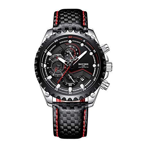 Relojes para hombres, relojes mecánicos, deportes de moda, calendario multifunción luminoso 30M resistente al agua, correa de cuero de 45MM, relojes de moda para hombres de negocios casuales