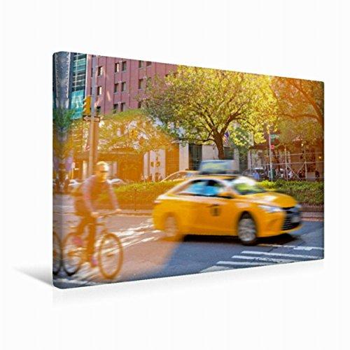 Calvendo Premium lienzo 45 cm x 30 cm horizontal, ciclista y taxis amarillo. La típica imagen de la calle en el parque de Avennue. Imagen en cabina, Nueva York City, lugares de Estados Unidos.