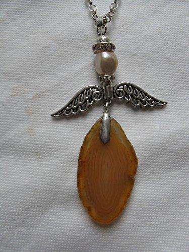 Natural mente – Collier, longue, pierre naturelle, agate, collier, chaîne, Ange, Ange gardien, fabriqué à la main. N ° 982