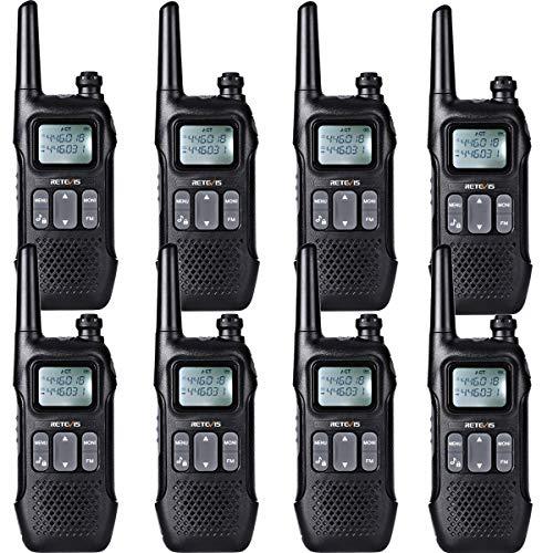 Retevis RT616 Talkie Walkie Rechargeable, PMR446 sans Licence 16 Canaux, 10 Tonalités d'Appel Radio FM, Moniteur VOX LED CTCSS/DCS Squelch, Talkie Walkie Professionnelle (8Pcs, Noir)