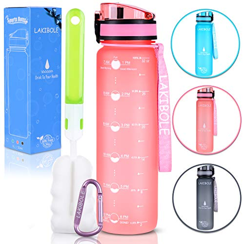LAKIBOLE 32 oz Water Bottle BPA Free with Time Markers, Tritan Gym Water Bottle for Fitness, Outdoor Enthusiasts, Leakproof & Durable (Pink)