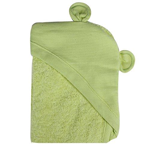 Minene–niños bebé baño toalla delantal con capucha con orejas de oso, 70x 70cm, verde