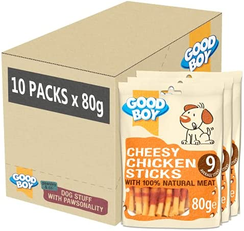 Good Boy – Cheesy Chicken Sticks – Dog Treats – Made With 100% Natural Chicken Breast Meat – 80 Grams ℮ – Low Fat Dog Treats – Case of 10 – Dogs Corner