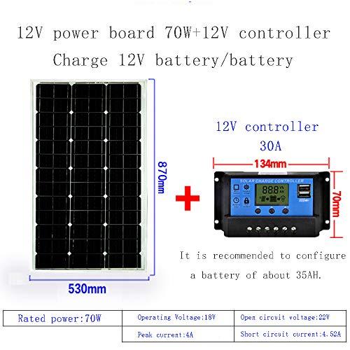 ZSPSHOP Solarmodul 50W ~ 150W Einkristall 12V Photovoltaik Ladesystem Komplettset Von Solarmodulen,70W