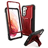 ExoGuard Samsung Galaxy S21 5G Case, Rubber Shockproof Full Body Cover Case for Samsung S21 5G Phone 6.2 inch, Built-in Kickstand (Red)