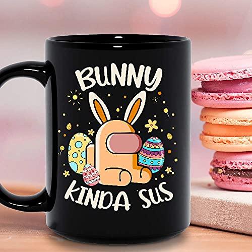 N\A Bunny Kinda Sus Among Sus Us Lovers Among Bunny Huevos de Pascua Feliz día de Pascua Taza de cerámica Encantadora Tazas de café gráficas Tazas Negras Tapas de té Novedad Personalizada 11 oz