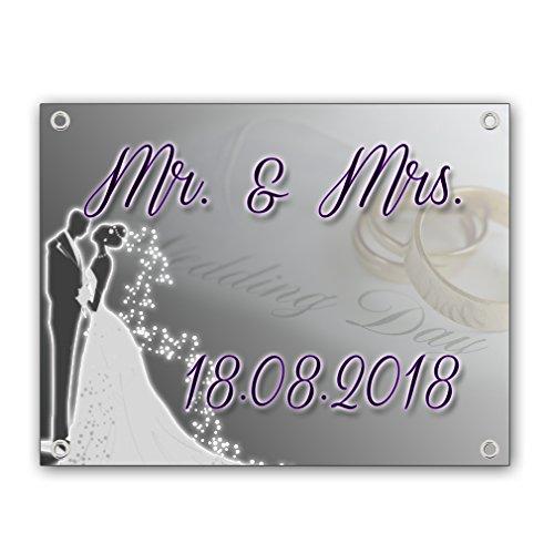 Hochzeitsbanner Hochzeitsplane Hochzeitstag 18.08.2018 Laken PVC 1,30m x 1,00m zur Hochzeitsfeier