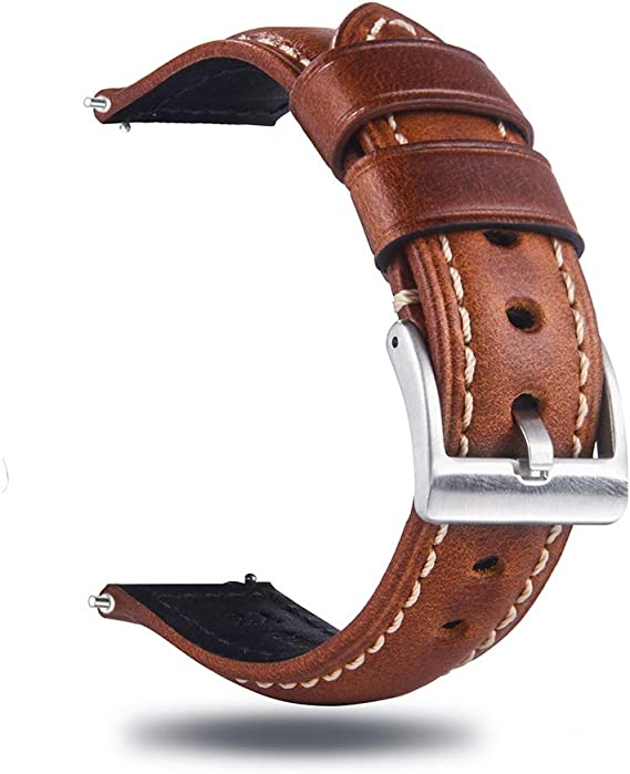 Berfine Quick Release Retro Leather Watch Band