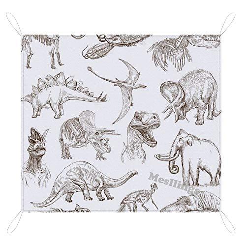 Manta de picnic y playa, práctica alfombra, figura de palo de varios tipos de dinosaurios, manta de pícnic a prueba de arena, impermeable, portátil, ligera, para familias, amigos – 67 pulgadas x 57 pulgadas