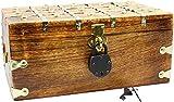 "WPB Wood Treasure Chest Storage Trunk 14""x8""x6"" Decorative Box Rustic Wedding Card Antique Style Lock - Key"