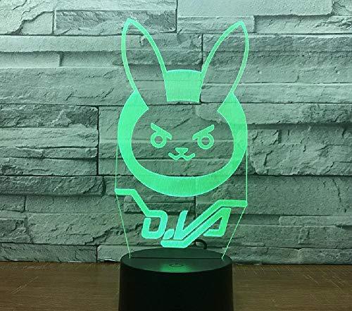 Konijn 3D Lamp Meerdere Kleuren Led Nachtlamp voor Kinderen Touch Led USB Tafel Baby Slaap Nachtlampje Kids Gift Afstandsbediening Telefoon Bluetooth Controle Kleur