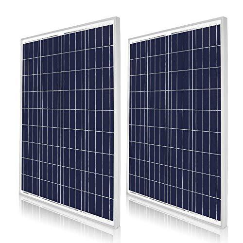 DOKIO Polykristallines Solarmodul 2 * 100W (200watt) 12V Ideal für Garten, Balkon, Garagendach