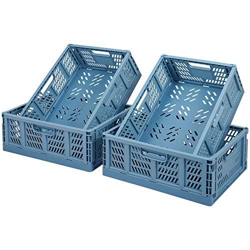 Faltbar Plastik Lagerkisten Regal Körbe,4er-Set Falten Aufbewahrungskorb Küche Schubladeneinsätze Stapelbare Lagerkästen Transport boxen Schrankbehälter Cubes Home Office Schlafzimmer Küche -Blau