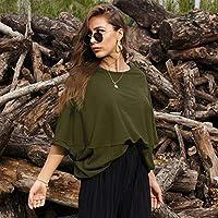 ピュアカラーTシャツ女性の夏の緩い半袖ラウンドネック大きいサイズのカジュアルな女性の ArmyGreen yangain (Color : ArmyGreen, Size : One size)