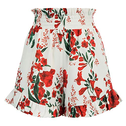 GRACE KARIN Women Boho Shorts Elastic Waist Loose Fit Casual Wide Leg Shorts Size XL,Red Floral