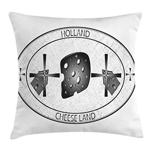 ABAKUHAUS Nederlands Sierkussensloop, Kaas Land Holland Windmolen, Decoratieve Vierkante Hoes voor Accent Kussen, 50 cm x 50 cm, Wit en Grijs