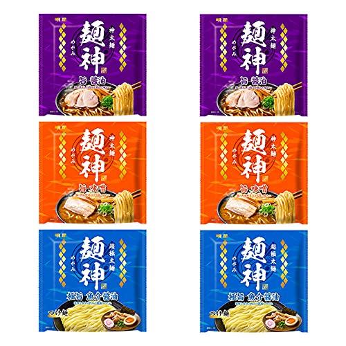 明星 麺神 神太麺×旨 醤油、神太麺×旨 味噌、つけ麺極旨魚介醤油 【3種アソート】 各2個セット
