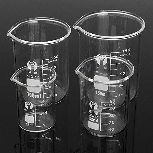 DIY - Juego de 4 vasos de cristal de borosilicato para laboratorio