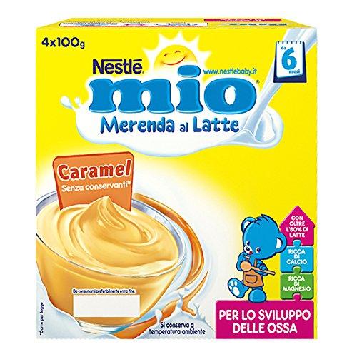 Nestlé Mio Merenda al Latte Caramel, da 6 Mesi, senza Glutine, 4 Vasetti da 100 g