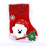 Aldevins&Granger Chaussette Bas Chaussettes New Year Christmas Party Supplies Candy Bag Socks with Snowman Santa Bear Christmas Stocking Christmas Tree Decoration Typeb