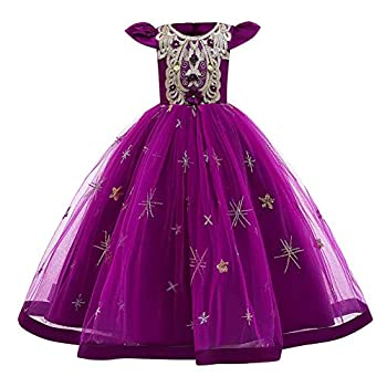 Flower Girls Royal Palace Lace Maxi Bridesmaid Dress Floor Length Princess Wedding Pageant Party Formal Prom Gothic Victorian Ball Gowns A line Summer Tulle Evening Masquerade Dress 01#Purple 3-4
